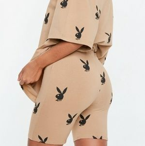 Playboy x Missguided Repeat Print Cycling Shorts